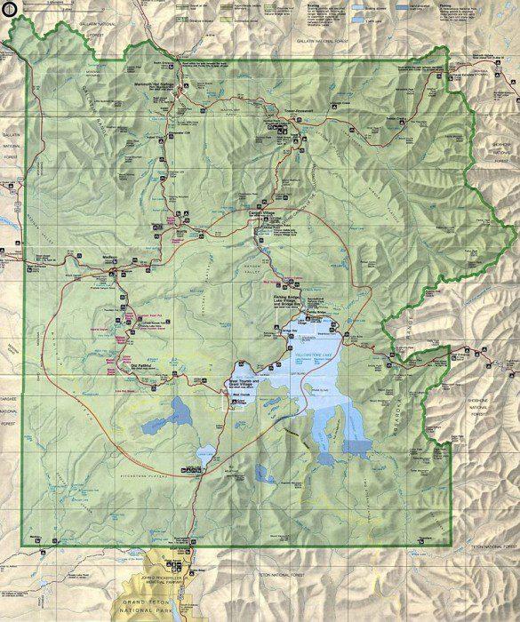 йеллоустонский национальный парк на карте