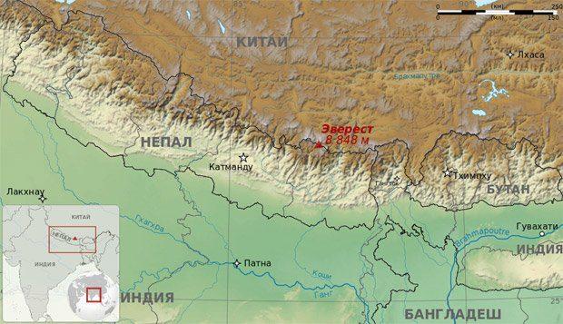 Джомолунгма на карте