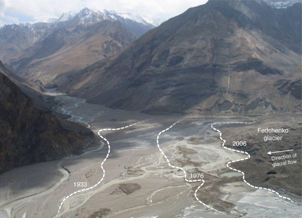 ледник Федченко на карте